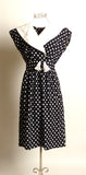 Circa 1980s Black and White Polka Dot Dress