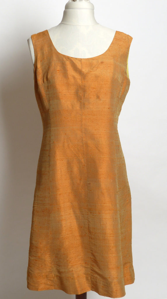 "Circa 1940s Burnt Orange Raw Silk Tank ""Wiggle"" Dress"