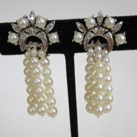 Circa 1950s 14K White Gold, Diamond and Cultured Pearl Earrings