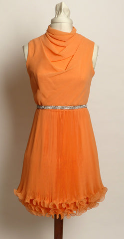 Circa 1960s Original Jr. Theme New York Flirty Peach/Rhinestone Dress