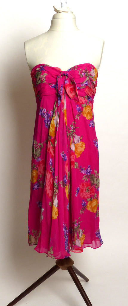 Circa 1990s Ralph Lauren Pink Silk Floral Dress