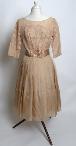 Circa 1950s Elinor Gay Mocha Chiffon Taffeta Dress