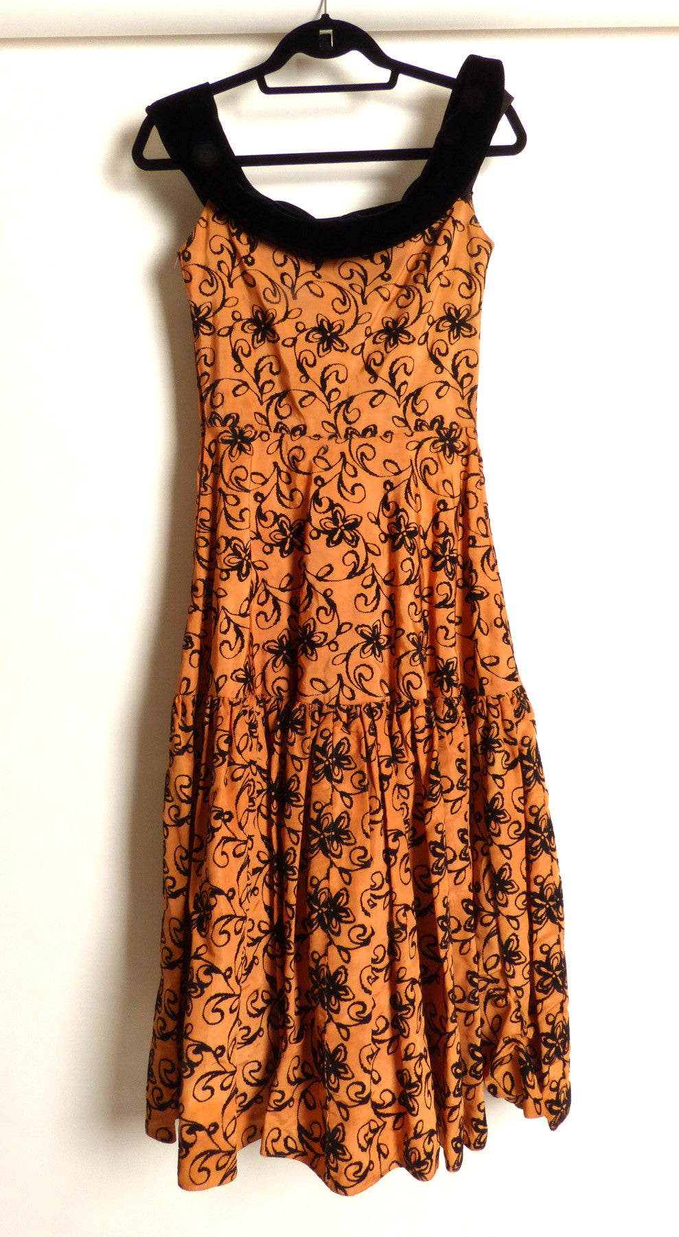 Circa 1950s Bronze Taffeta Burnout Circle Dress