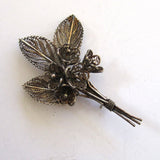800 Silver Filigree Bunch of Violets Brooch/Pin