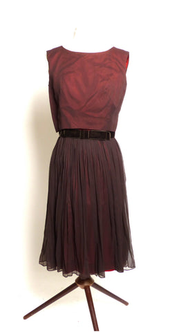 Circa 1950s L'Aiglon Chocolate Brown Party Dress