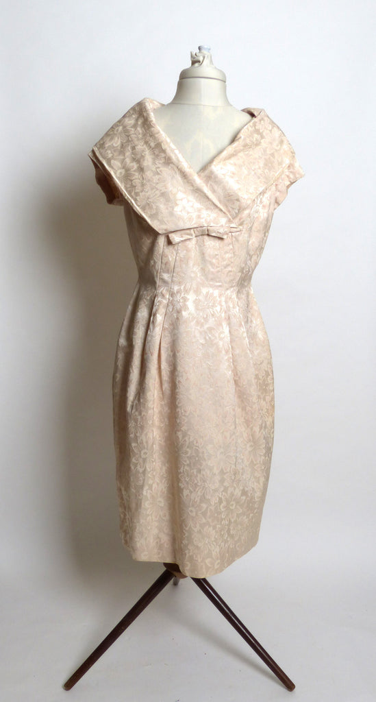Circa 1950s Cream Brocade Shawl-Collared Dress