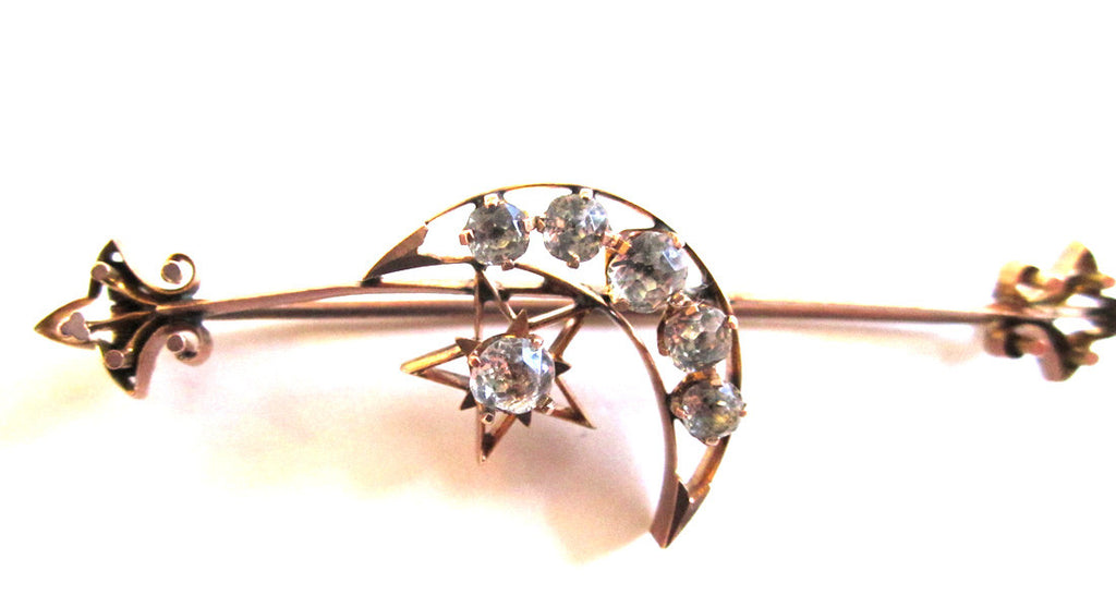 9K Rose Gold Victorian Paste Moon and Stars Brooch/Pin