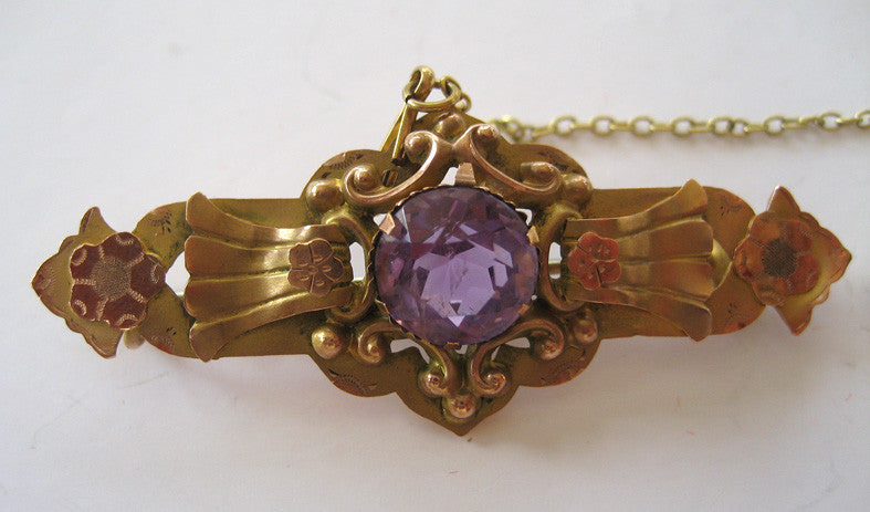 Victorian 9 ct. Yellow and Rose Gold Amethyst Brooch/Pin