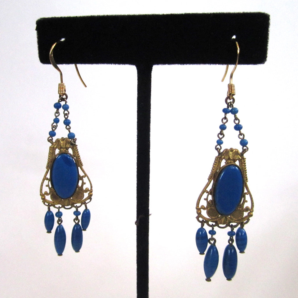 Art Deco Brass and Blue Glass Earrings