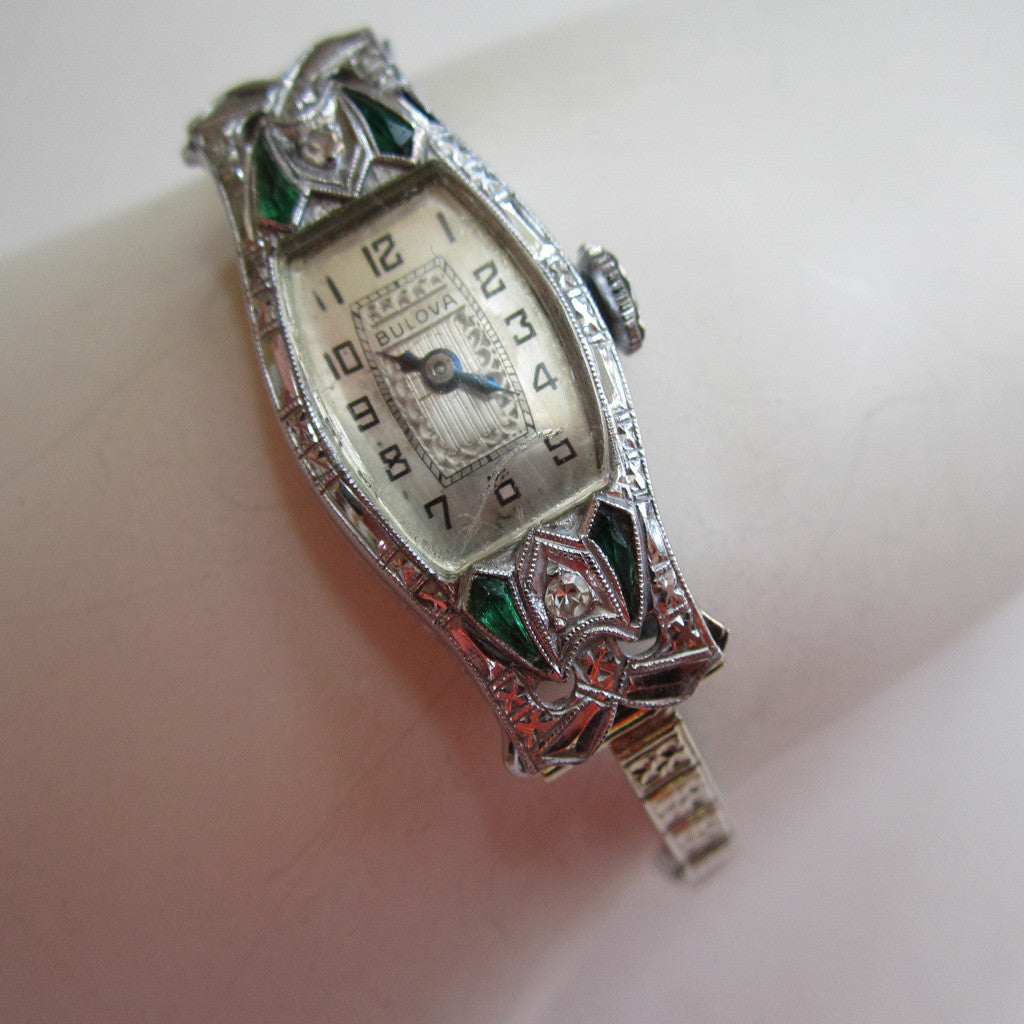 Art Deco Bulova 14K White Gold Diamond and Emerald Watch
