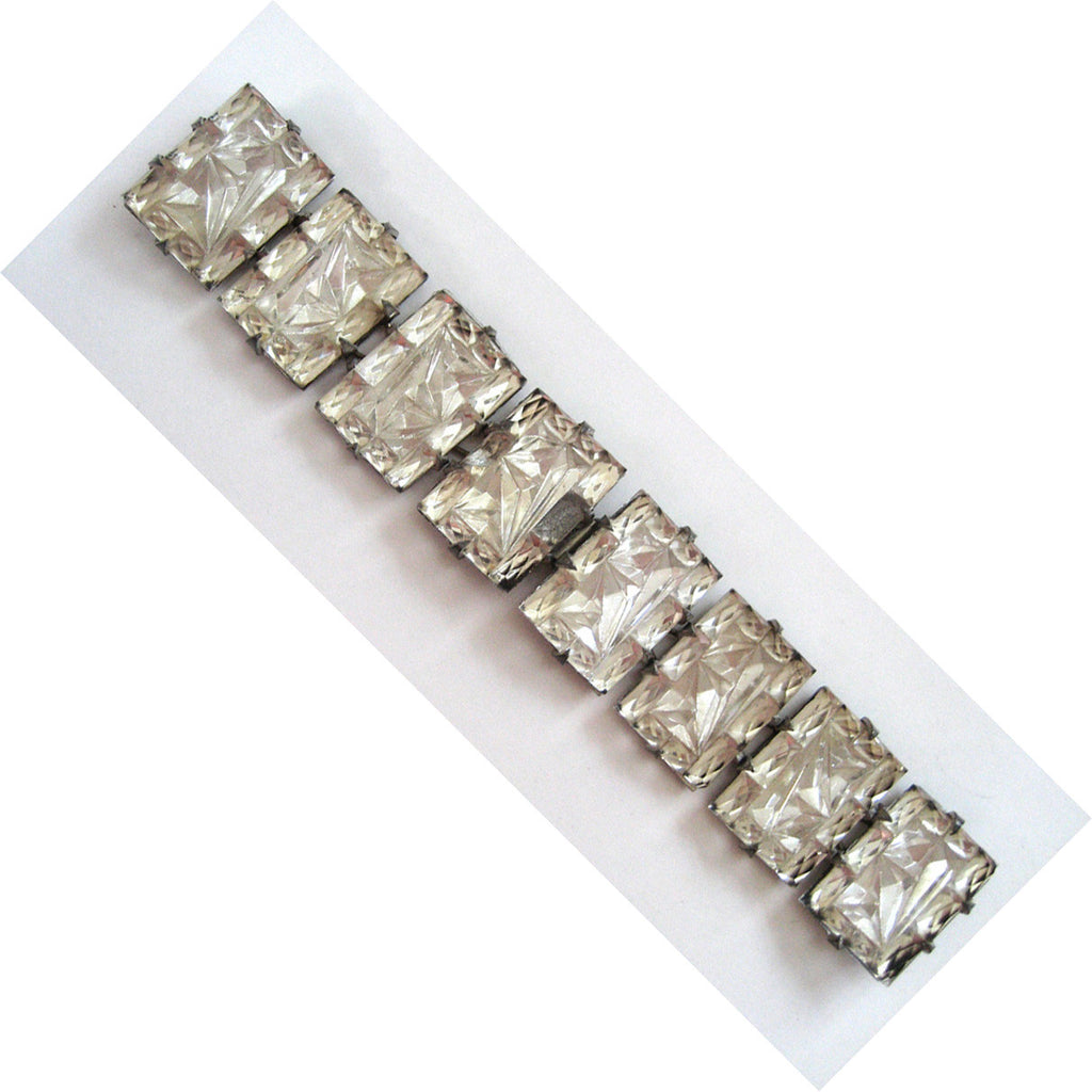 Art Deco Textured Glass Long Belt Buckle