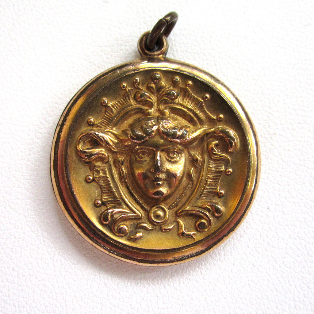 Art Nouveau Gold-Filled Lady Pendant