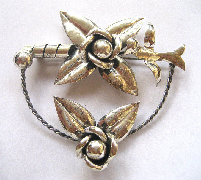 Art Deco Sterling Silver Bird and Flower Pin