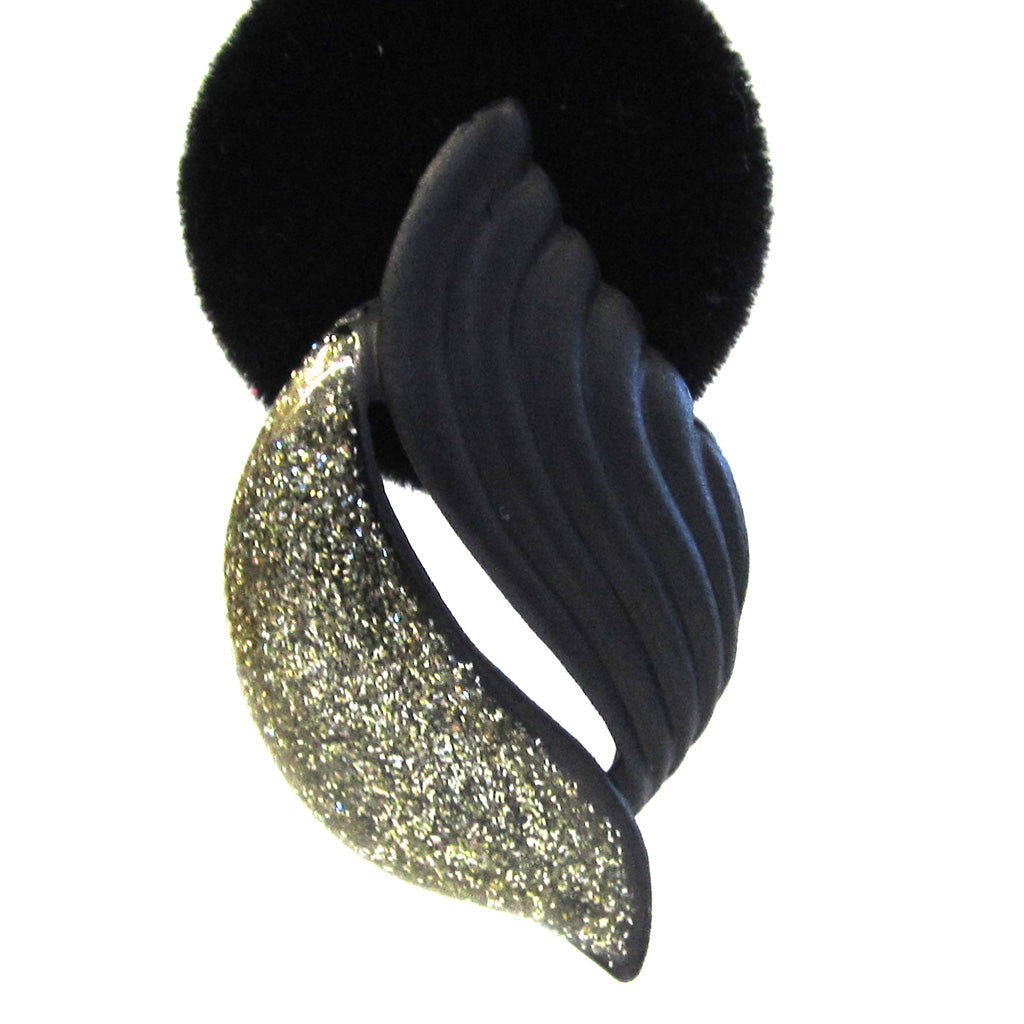 Black and Gold Glitter Leaf Pierced Earrings