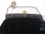 Black Velvet Purse with Leather Bow