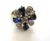 Blue and Clear Rhinestone Floral Gold-Tone Metal Ring