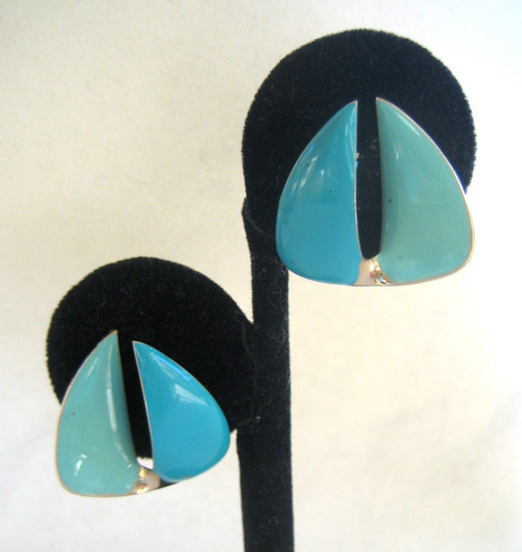 Blue Enamel Abstract Sailboat Earrings