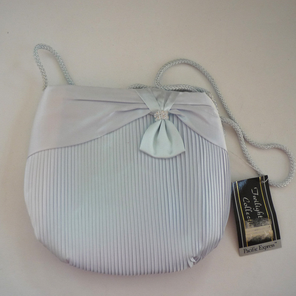 Baby Blue Satin Pleated Bow Purse