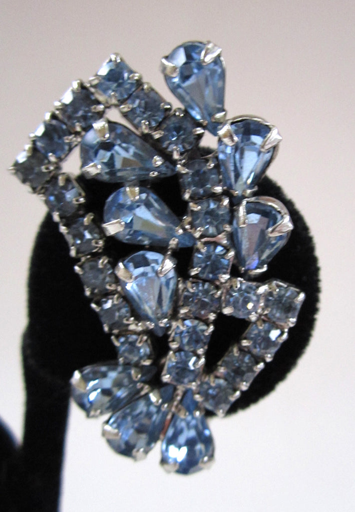 Circa 1950s Blue Rhinestone Fan Earrings