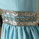 1950s Ceil Chapman Blue Rhinestone and Sequined Gown/Dress