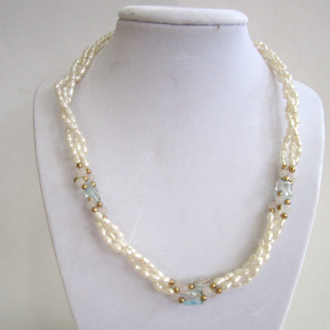 Triple-Strand of Rice Pearl, Blue Topaz, Rose Quartz and Gold Bead Necklace/Pendant