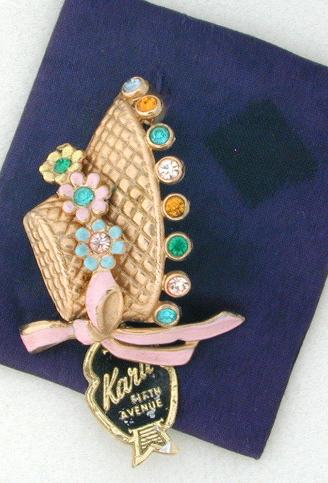 Karu 5th Avenue Goldtone, Rhinestone and Enamel Bonnet Pin on Original Card with Original Tag