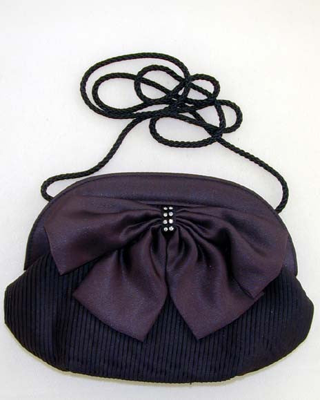 Circa 1970s Magid Black Pleated Bow Purse