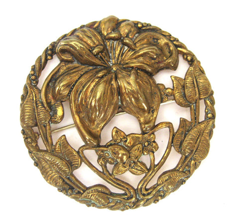 Brass Circular Lily Brooch/Pin