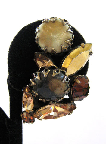 Regency Brown Art Glass and Rhinestone Earrings
