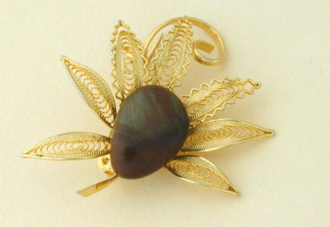 Unsigned Filigree Goldtone and Brown Stone Brooch/Pin
