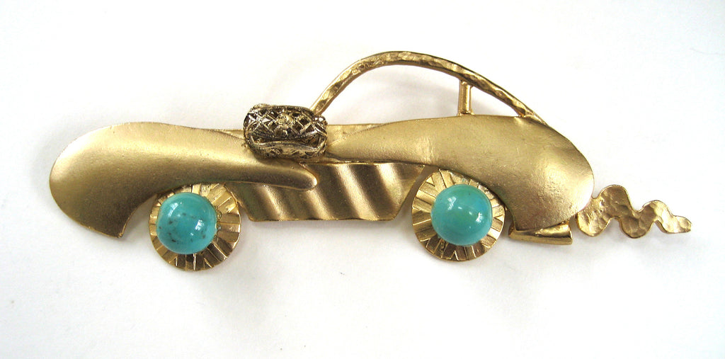 Brushed Gold-Tone Race Car Brooch/Pin