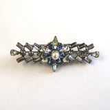Carl Art Sterling Silver Floral Blue and Clear Rhinestone Cultured Pearl Bar Brooch/Pin