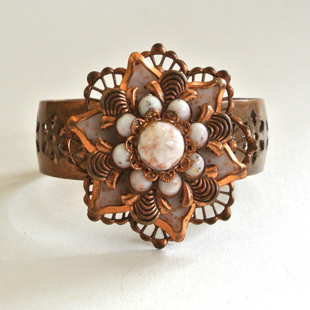 Copper and Glass Bead Floral Cuff Bracelet