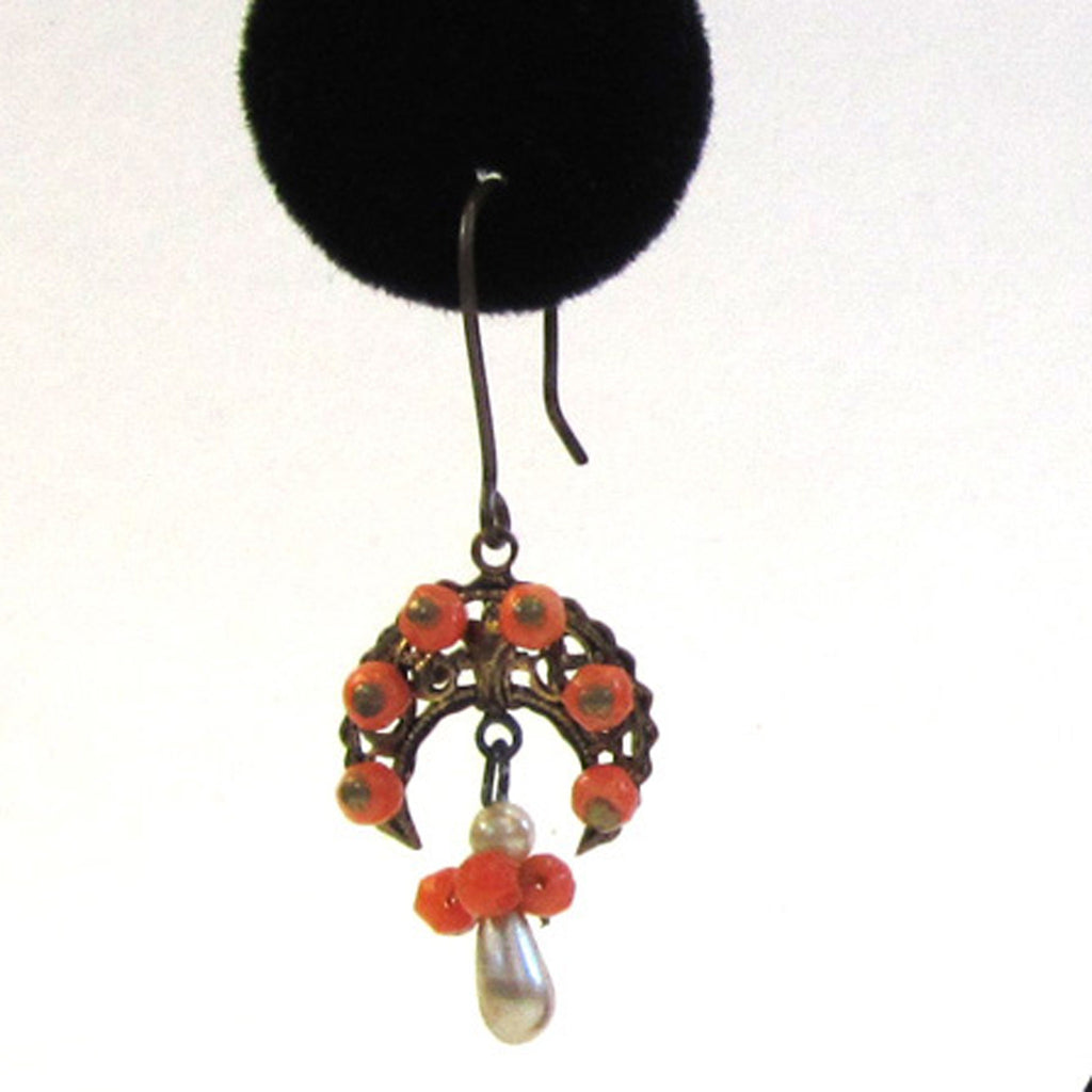 Victorian Half-Moon Filigree Coral and Faux Pearl Earrings