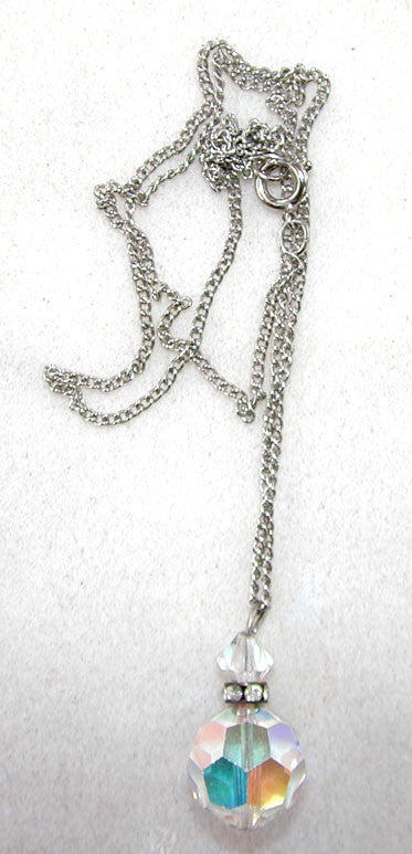 Unsigned Crystal and Rhinestone Necklace on a Silvertone Chain