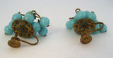 Czechoslovakian Blue Bead Earrings