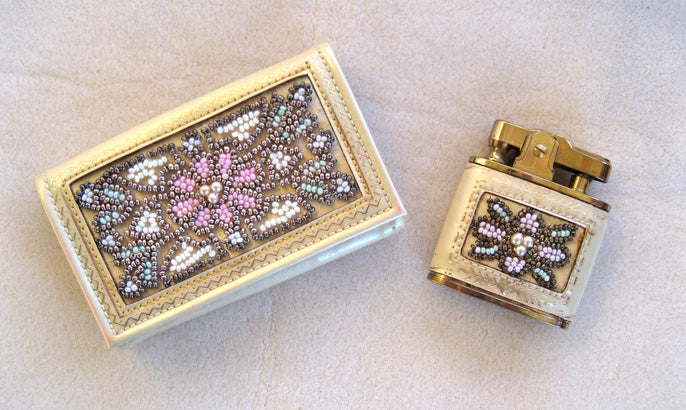 French Daniel Entre Nous Leather and Bead Key Case and Lighter Set