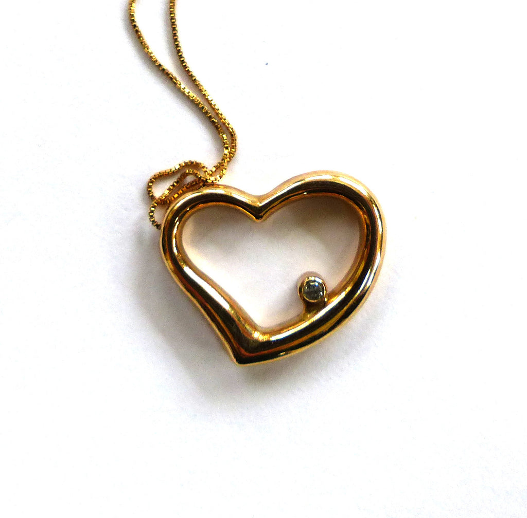 10K Yellow Gold Diamond Heart Pendant