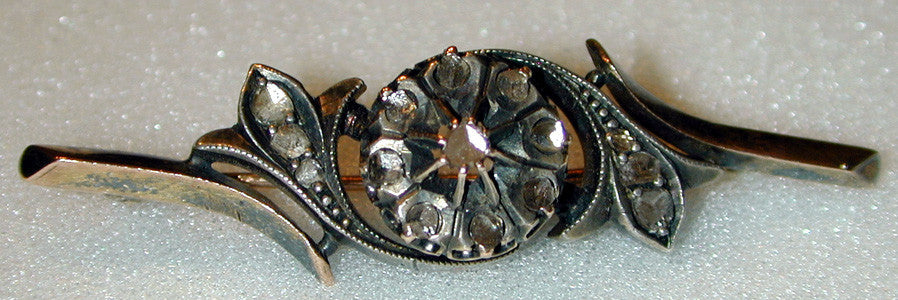10K Yellow Gold,Sterling Silver and Rose-Cut Diamond Victorian Brooch/Pin