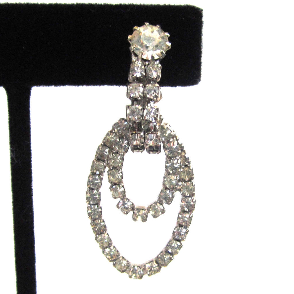 Sparking Silver-Tone Rhinestone Double Hoop Earrings