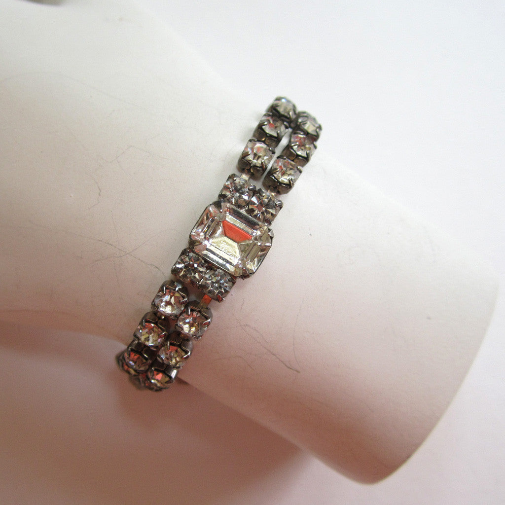 Double-Row Rhinestone Bracelet