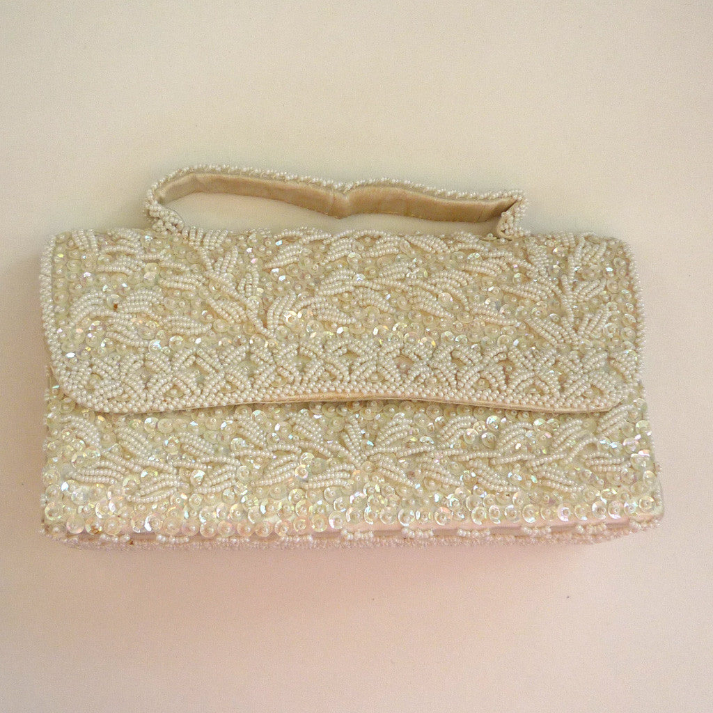 DuBarry White Beaded Purse/Handbag