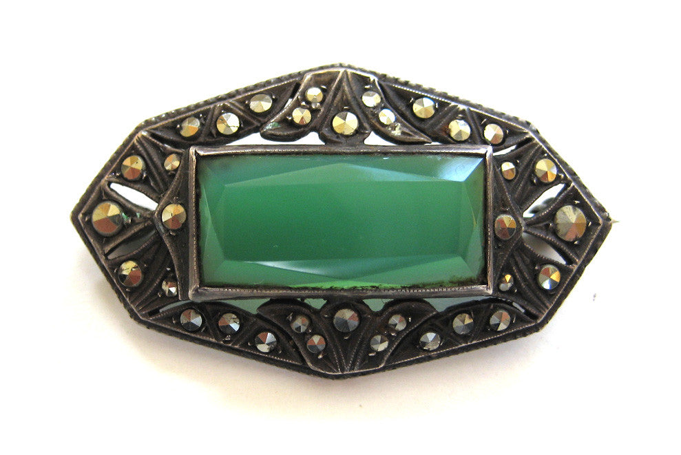 935 Silver Green Onyx Marcasite Brooch/Pin