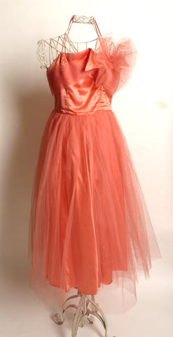 Circa 1950s Emma Domb Coral Party Dress