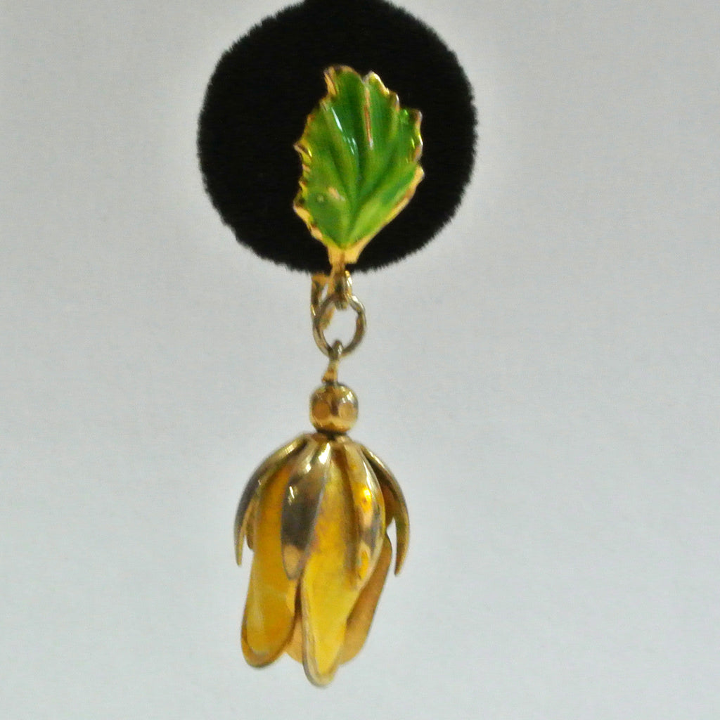 Gold-tone Yellow Enamel Tropical Flower Earrings
