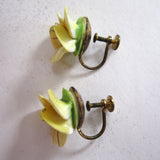 English China Yellow Pansy Earrings