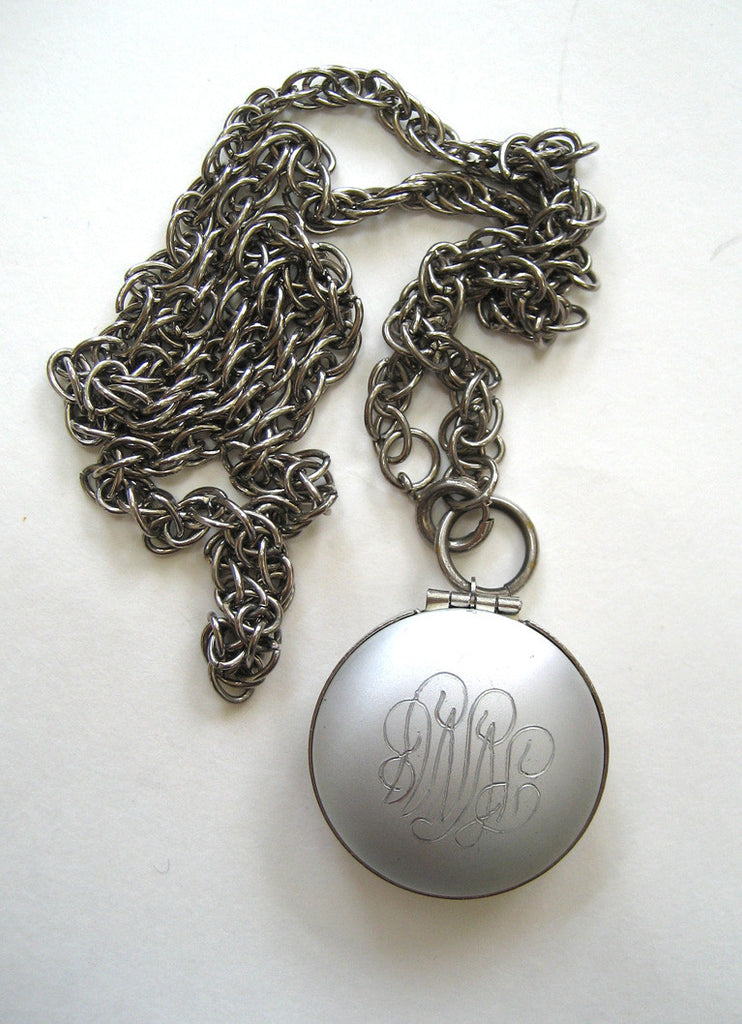 Silver-tone Engraved Locket Pendant