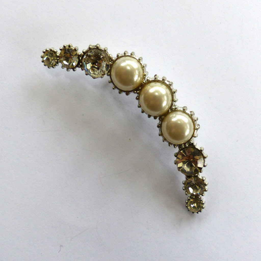 Silver-Tone Crescent Moon Faux Pearl and Rhinestone Brooch/Pin