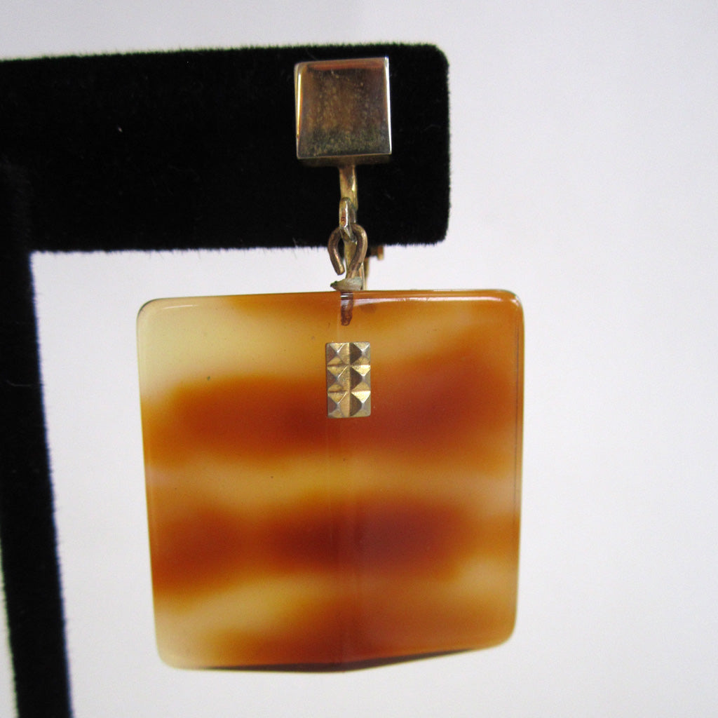 Faux Tortoise Shell Square Earrings