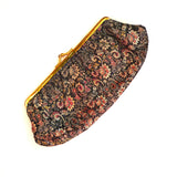 Black Floral Silk Purse/Clutch with Leather Interior
